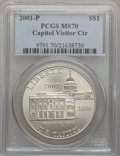 Modern Issues: , 2001-P $1 Capitol Visitor's Center Silver Dollar MS70 PCGS. PCGSPopulation (102). NGC Census: (485). Numismedia Wsl. Pric...