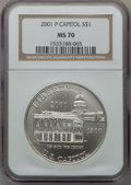 Modern Issues: , 2001-P $1 Capitol Visitor's Center Silver Dollar MS70 NGC. NGCCensus: (485). PCGS Population (102). Numismedia Wsl. Price...