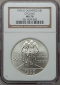 Modern Issues: , 1995-D $1 Olympic/Cycling Silver Dollar MS70 NGC. NGC Census:(225). PCGS Population (126). Numismedia Wsl. Price for prob...