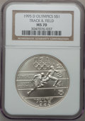 Modern Issues: , 1995-D $1 Olympic/Track & Field Silver Dollar MS70 NGC. NGCCensus: (223). PCGS Population (108). Numismedia Wsl. Price fo...