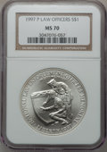 Modern Issues: , 1997-P $1 Law Enforcement Silver Dollar MS70 NGC. NGC Census:(195). PCGS Population (133). Numismedia Wsl. Price for prob...