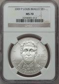 Modern Issues, 2009-P $1 Braille MS70 NGC. NGC Census: (1500). PCGS Population(463). Numismedia Wsl. Price for problem free NGC/PCGS coi...