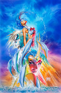 Original Comic Art:Illustrations, Michael Turner and Alex Ross A Tribute to Michael Turner Fathom Painted Cover Original Art (Aspen, 2008)....