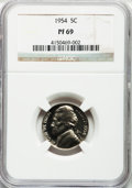 Proof Jefferson Nickels: , 1954 5C PR69 NGC. NGC Census: (202/0). PCGS Population (6/0).Mintage: 233,300. Numismedia Wsl. Price for problem free NGC/...