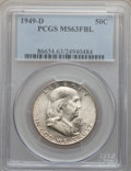 Franklin Half Dollars: , 1949-D 50C MS63 Full Bell Lines PCGS. PCGS Population (498/3136).NGC Census: (260/911). Numismedia Wsl. Price for problem...