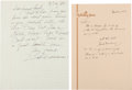 Autographs:Others, 1984 Ted Williams & Hank Greenberg Handwritten Letters to Each Other....