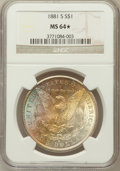 Morgan Dollars, 1881-S $1 MS64 ★ NGC. NGC Census: (90721/69815). PCGS Population(91007/61559). Mintage: 1...