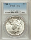 Peace Dollars: , 1922-D $1 MS63 PCGS. PCGS Population (2884/4424). NGC Census:(1596/3891). Mintage: 15,063,000. Numismedia Wsl. Price for p...