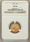 Indian Quarter Eagles: , 1909 $2 1/2 MS60 NGC. NGC Census: (63/5531). PCGS Population(41/2852). Mintage: 441,700. Numismedia Wsl. Price for problem...