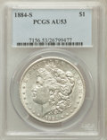 Morgan Dollars: , 1884-S $1 AU53 PCGS. PCGS Population (985/2491). NGC Census:(991/3406). Mintage: 3,200,000. Numismedia Wsl. Price for prob...