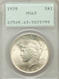 Peace Dollars: , 1925 $1 MS63 PCGS. PCGS Population (10270/25388). NGC Census:(10015/32407). Mintage: 10,198,000. Numismedia Wsl. Price for...