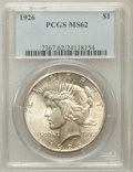 Peace Dollars: , 1926 $1 MS62 PCGS. PCGS Population (1011/7862). NGC Census:(721/6515). Mintage: 1,939,000. Numismedia Wsl. Price for probl...
