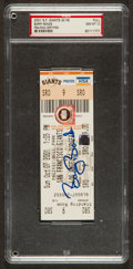 Baseball Collectibles:Tickets, 2001 Barry Bonds Signed Full Ticket from 73rd Home Run Game PSA GemMint 10....