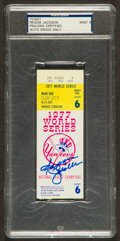 Baseball Collectibles:Tickets, 1977 Reggie Jackson Signed World Series Game 6 Ticket Stub PSA Mint9 - Historic 3 Home Run Game!...