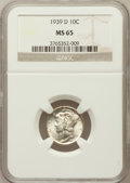 Mercury Dimes: , 1939-D 10C MS65 NGC. NGC Census: (256/777). PCGS Population(461/933). Mintage: 24,394,000. Numismedia Wsl. Price for probl...