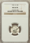 Mercury Dimes: , 1941-D 10C MS66 Full Bands NGC. NGC Census: (1001/448). PCGSPopulation (2041/575). Mintage: 46,634,000. Numismedia Wsl. Pr...