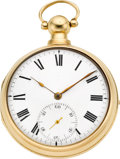 Timepieces:Pocket (pre 1900) , Robert Roskell Liverpool 18k Gold Rack Lever Pair Case Fusee, circa1810. ...