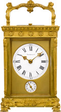 Timepieces:Clocks, Tiffany & Co. Ornate French Carriage Clock With Strike, Repeat & Alarm, circa 1900. ...