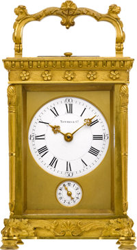 Tiffany & Co. Ornate French Carriage Clock With Strike, Repeat & Alarm, circa 1900