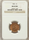 Indian Cents: , 1865 1C Fancy 5 MS65 Brown NGC. NGC Census: (34/2). PCGS Population(6/0). Mintage: 35,429,288. Numismedia Wsl. Price for p...