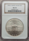 Modern Issues: , 1992-D $1 White House Silver Dollar MS70 NGC. NGC Census: (509).PCGS Population (193). Mintage: 123,803. Numismedia Wsl. P...