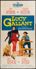 "Movie Posters:Drama, Lucy Gallant (Paramount, 1955). Three Sheets (3) (41"" X 79"" &41"" X 80""), One Sheet (27"" X 41"") Flat Folded, Insert (14"" X 3...(Total: 6 Items)"