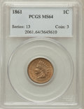 Indian Cents: , 1861 1C MS64 PCGS. PCGS Population (404/244). NGC Census:(285/188). Mintage: 10,100,000. Numismedia Wsl. Price forproblem...