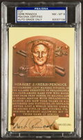 Baseball Collectibles:Others, Herb Pennock Signed Cut Signature Display....