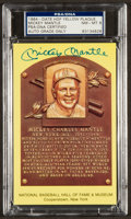 Baseball Collectibles:Others, Mickey Mantle Signed Hall Of Fame Plaque Postcard PSA NM-MT 8. ...