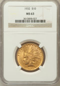 Indian Eagles: , 1932 $10 MS63 NGC. NGC Census: (22565/13602). PCGS Population(18324/10187). Mintage: 4,463,000. Numismedia Wsl. Price for ...