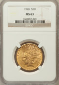 Indian Eagles: , 1926 $10 MS63 NGC. NGC Census: (12970/4869). PCGS Population(10587/3560). Mintage: 1,014,000. Numismedia Wsl. Price for pr...