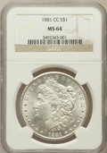 Morgan Dollars: , 1881-CC $1 MS64 NGC. NGC Census: (3341/3033). PCGS Population(7012/5849). Mintage: 296,000. Numismedia Wsl. Price for prob...