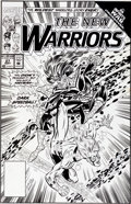 Original Comic Art:Covers, Mark Bagley and Larry Mahlstedt The New Warriors #27 Speedball Cover Original Art (Marvel, 1992)....