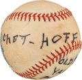 "Autographs:Baseballs, Chet Hoff ""Oldest Yankee Pitcher 1911 to 1915"" Single SignedBaseball...."