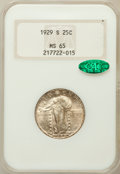 Standing Liberty Quarters: , 1929-S 25C MS65 NGC. CAC. NGC Census: (175/142). PCGS Population(247/117). Mintage: 1,764,000. Numismedia Wsl. Price for p...