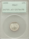 Seated Dimes: , 1888 10C MS63 PCGS. PCGS Population (64/144). NGC Census: (54/148).Mintage: 5,495,655. Numismedia Wsl. Price for problem f...