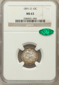 Seated Dimes: , 1891-O 10C MS63 NGC. CAC. NGC Census: (39/88). PCGS Population(47/90). Mintage: 4,540,000. Numismedia Wsl. Price for probl...