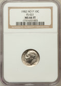 Roosevelt Dimes, 1982 10C NO P, FS-021 MS66 Full Bands NGC. NGC Census: (17/2). PCGSPopulation (24/6). Numismedia Wsl. Price for problem f...
