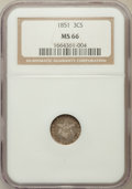 1851 3CS MS66 NGC. NGC Census: (73/11). PCGS Population: (146/24). MS66. Mintage 5,447,400