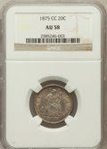 Twenty Cent Pieces: , 1875-CC 20C AU58 NGC. NGC Census: (77/296). PCGS Population(94/296). Mintage: 133,290. Numismedia Wsl. Price for problem f...
