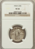 Standing Liberty Quarters: , 1923-S 25C VF25 NGC. NGC Census: (26/392). PCGS Population(45/815). Mintage: 1,360,000. Numismedia Wsl. Price for problem ...