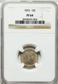 Proof Barber Dimes: , 1893 10C PR64 NGC. NGC Census: (44/115). PCGS Population (49/67).Mintage: 792. Numismedia Wsl. Price for problem free NGC/...