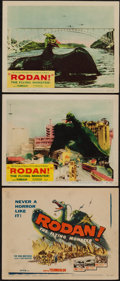 "Movie Posters:Science Fiction, Rodan! The Flying Monster (Toho/ DCA, 1957). Title Lobby Card andLobby . Cards (2) (11"" X 14""). Science Fiction.. ... (Total: 3Items)"