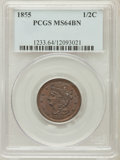 Half Cents: , 1855 1/2 C MS64 Brown PCGS. PCGS Population (114/37). NGC Census:(176/89). Mintage: 56,500. Numismedia Wsl. Price for prob...