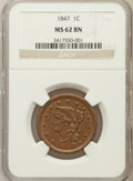 Large Cents: , 1847 1C MS62 Brown NGC. NGC Census: (80/245). PCGS Population(16/110). Mintage: 6,183,669. Numismedia Wsl. Price for probl...