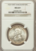 Commemorative Silver: , 1925 50C Vancouver MS64+ NGC. NGC Census: (821/880). PCGSPopulation (982/1033). Mintage: 14,994. Numismedia Wsl. Pricefor...