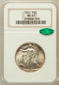 Walking Liberty Half Dollars: , 1941 50C MS67 NGC. CAC. NGC Census: (532/18). PCGS Population(493/15). Mintage: 24,207,412. Numismedia Wsl. Price for prob...
