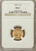 Liberty Quarter Eagles: , 1854 $2 1/2 MS61 NGC. NGC Census: (130/206). PCGS Population(17/126). Mintage: 596,258. Numismedia Wsl. Price for problem ...