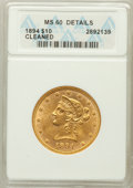 Liberty Eagles: , 1894 $10 -- Cleaned -- ANACS. MS60 Details. NGC Census:(1785/31634). PCGS Population (1999/14700). Mintage: 2,470,778.Num...