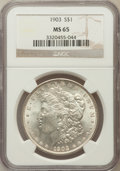 Morgan Dollars: , 1903 $1 MS65 NGC. NGC Census: (2271/579). PCGS Population(2766/901). Mintage: 4,652,755. Numismedia Wsl. Price forproblem...